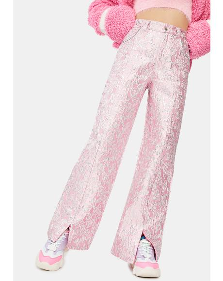 Flower Metallic Split Trousers