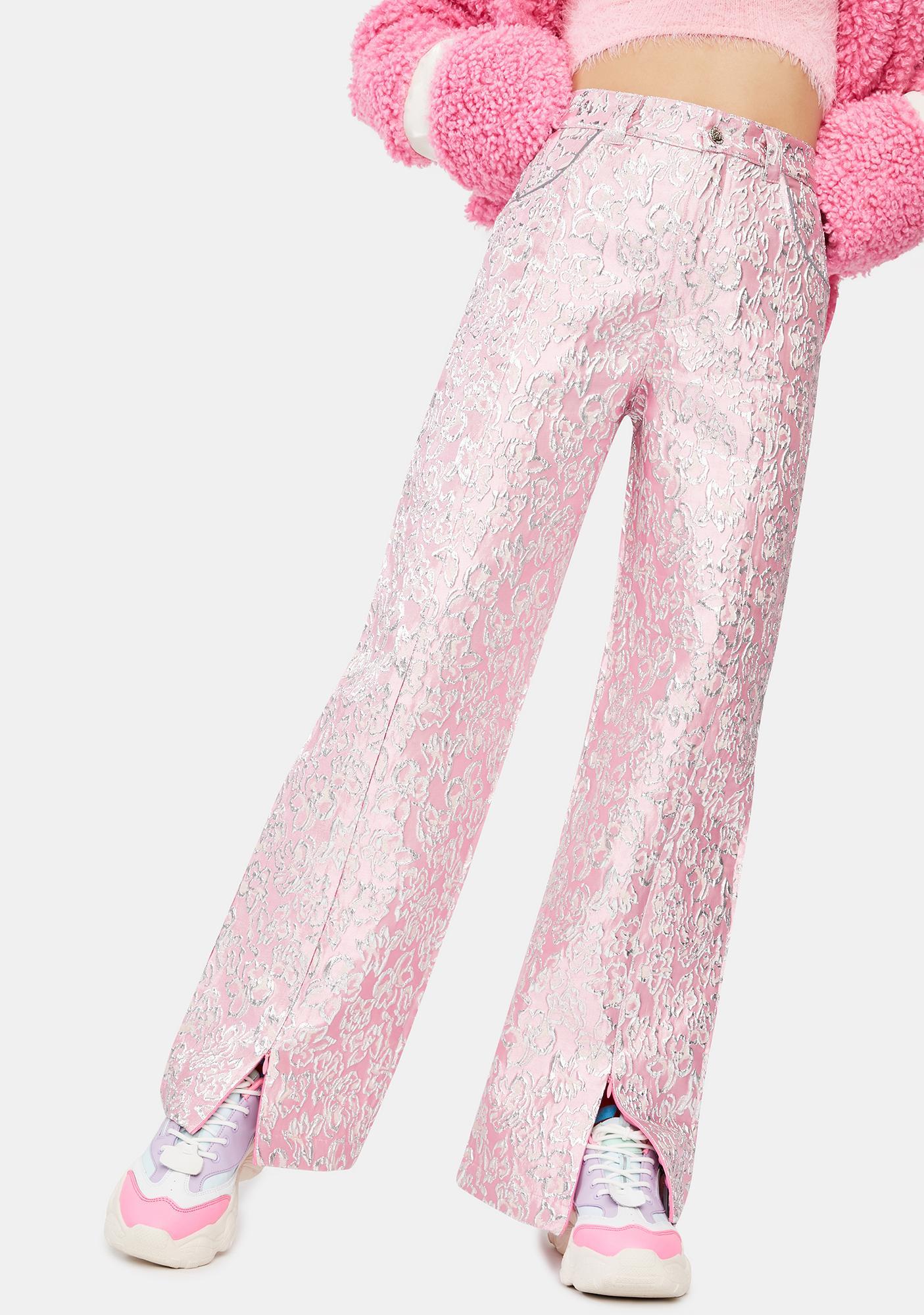 Somewhere Nowhere Flower Metallic Split Trousers