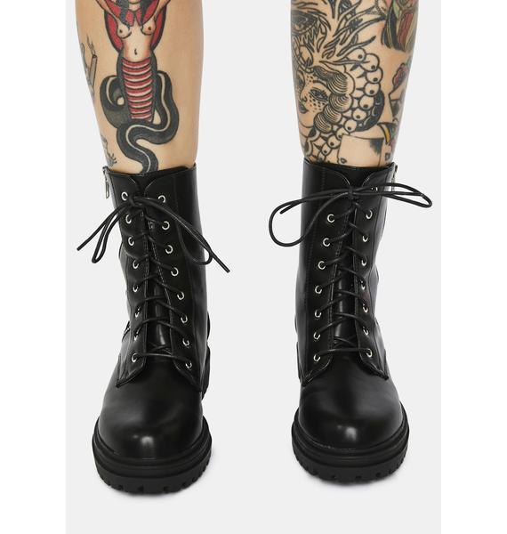 Strong Suit Zip Detail Combat Boots