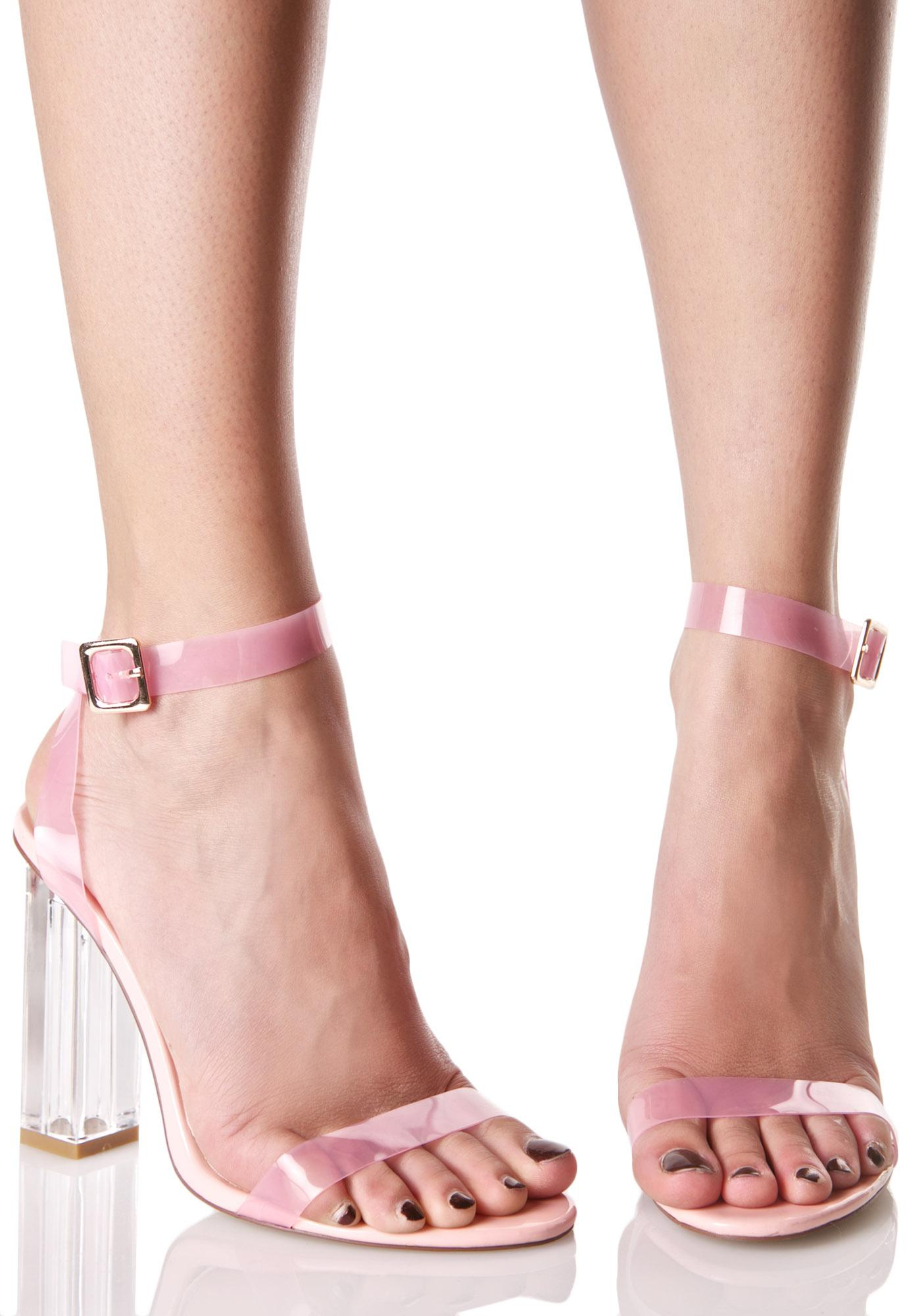 e014156c924 Open Toe Pink Lucite Heels