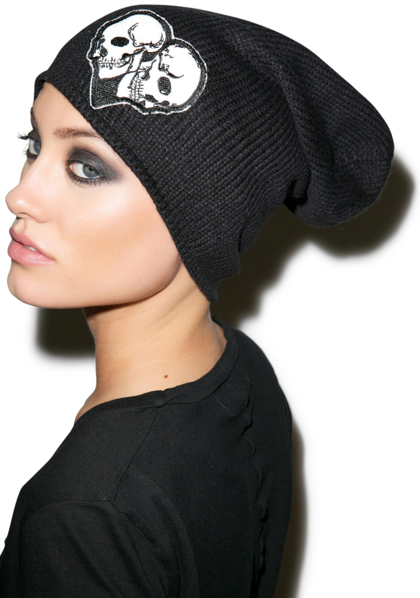 Lauren Moshi Dede Skull Heart Patch Beanie