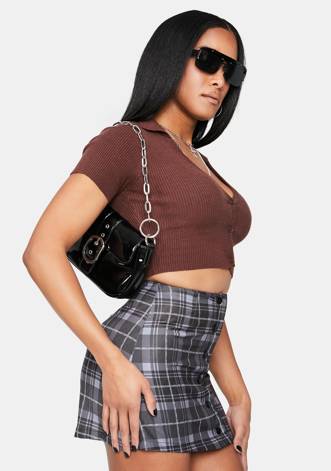Coffee Let's Go Downtown Ribbed Crop Tee