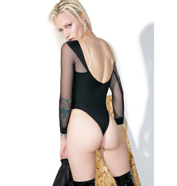 Shade London Black Mesh Cutout Bodysuit