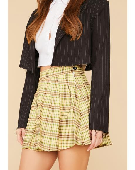 Study Date Plaid Pleated Mini Skirt