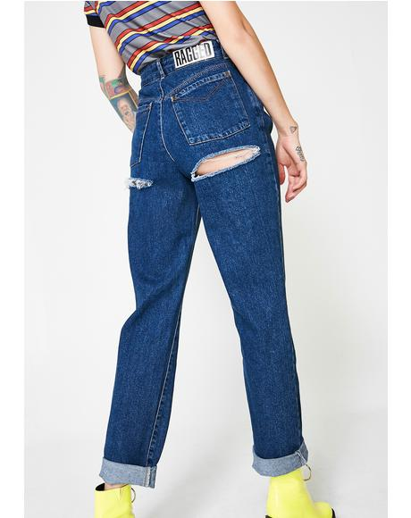 Indigo Double Butt Cut Jeans