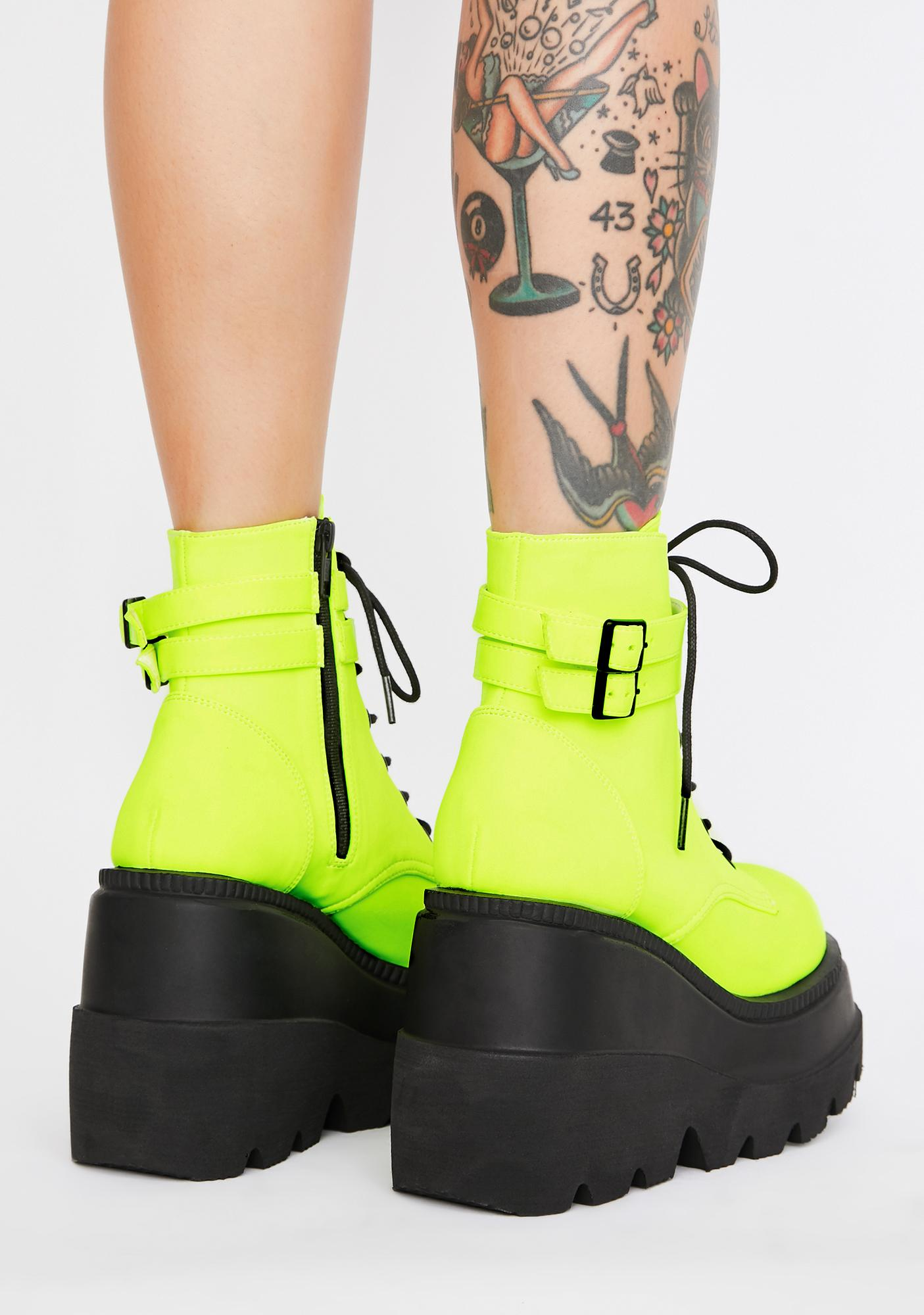 Demonia Electric Heart UV Technopagan Boots