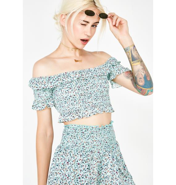 Pretty Please Smocked Crop Top