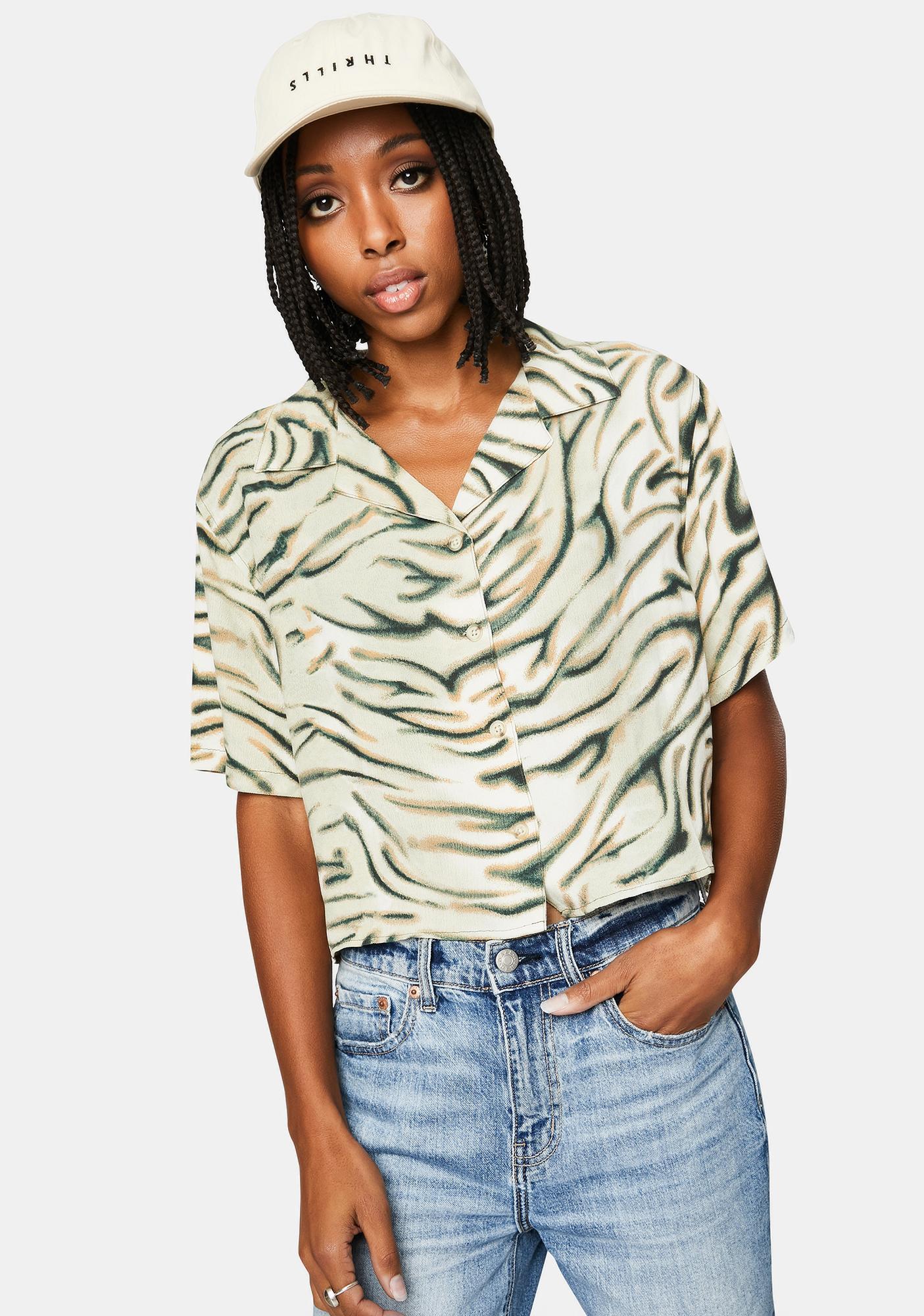 THRILLS Thrift White Warped Crop Shirt