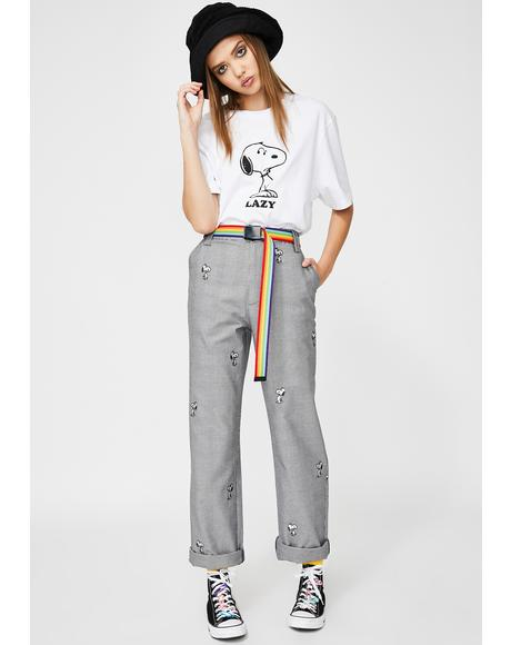x Peanuts Lazy Snoopy Repeat Work Pants