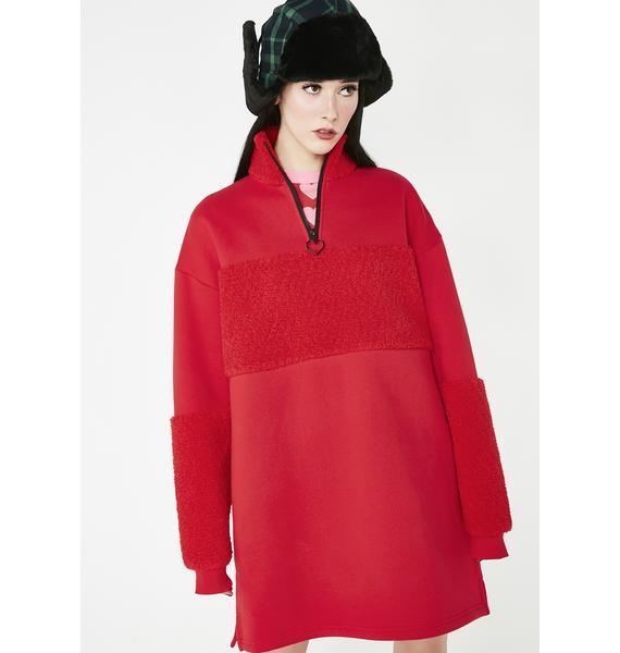 Lazy Oaf Fleece Panel Sweater Dress