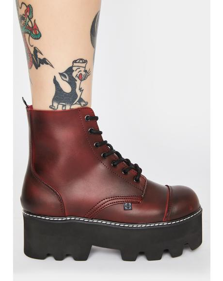 Burgundy Dino Lug Sole 7-Eye Boots