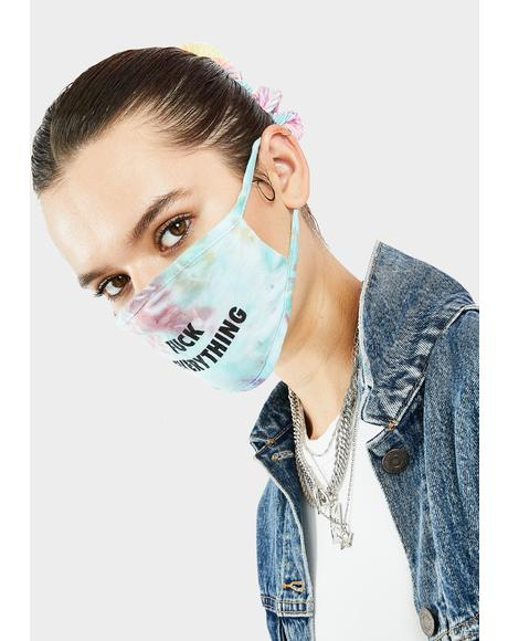 Fuck Everything Blue Tie Dye Face Mask