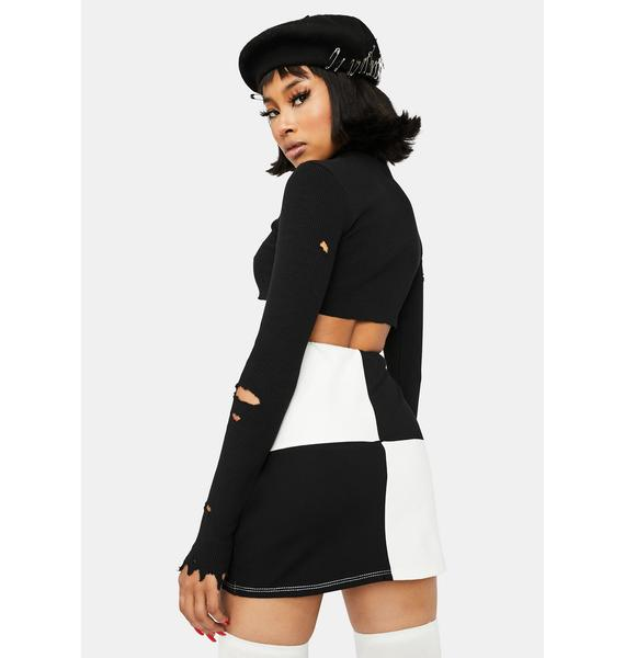 And Checkmate Bodycon Mini Skirt
