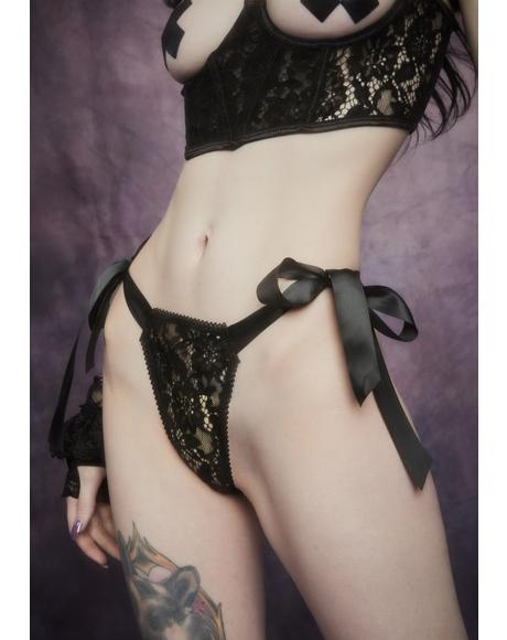 Before Dawn Satin Ribbon Tie Lace Thong
