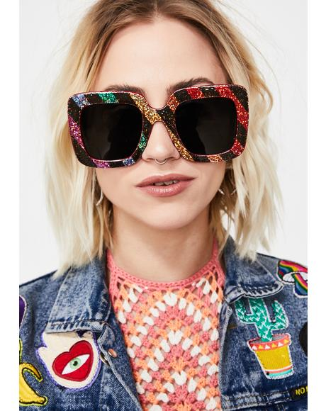 Sparkle Funk Square Sunglasses