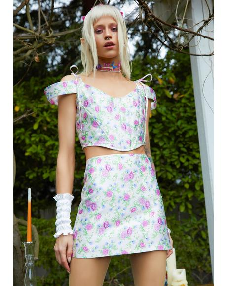 Blooming Polaroid Fever Mini Skirt