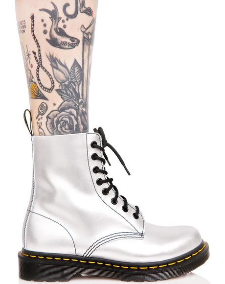 Silver 1460 8 Eye Boots