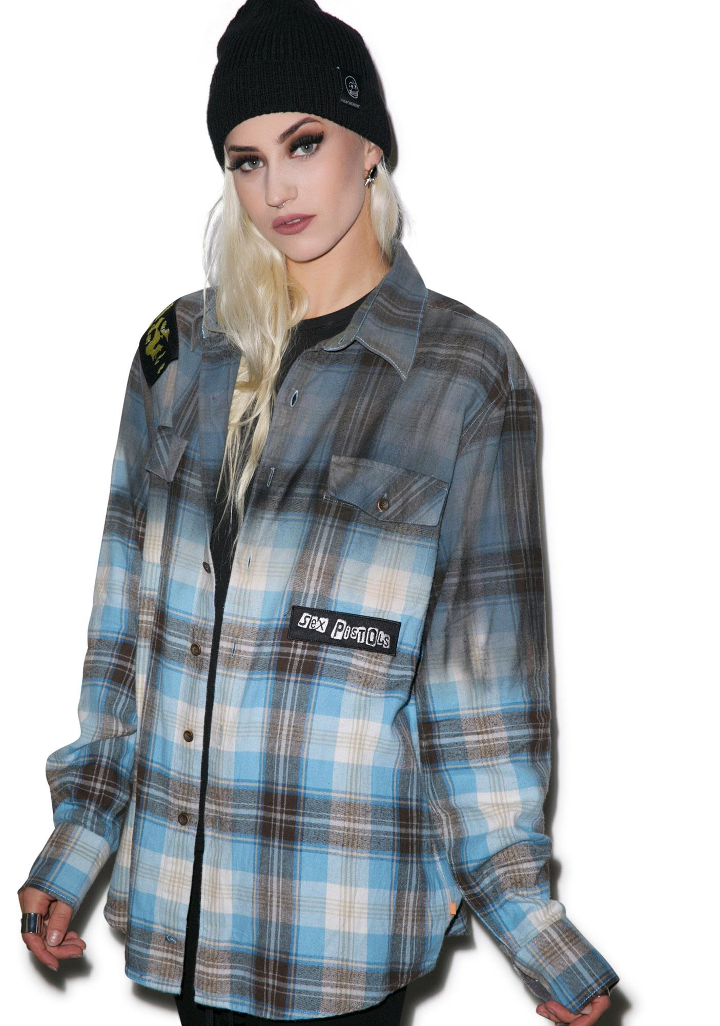 Ready 2 Die Ombre Plaid Button Down