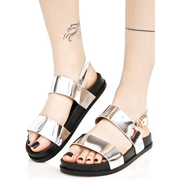 Silver Zanadu Metallic Sandals