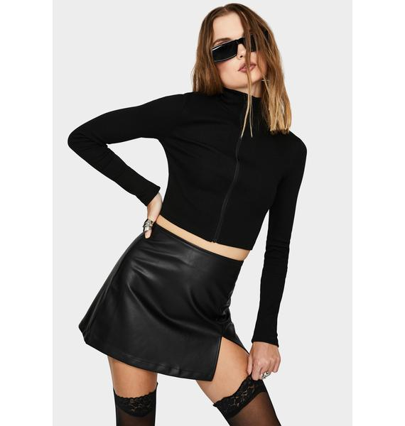 THE KRIPT Black After Dark Zip Crop Top