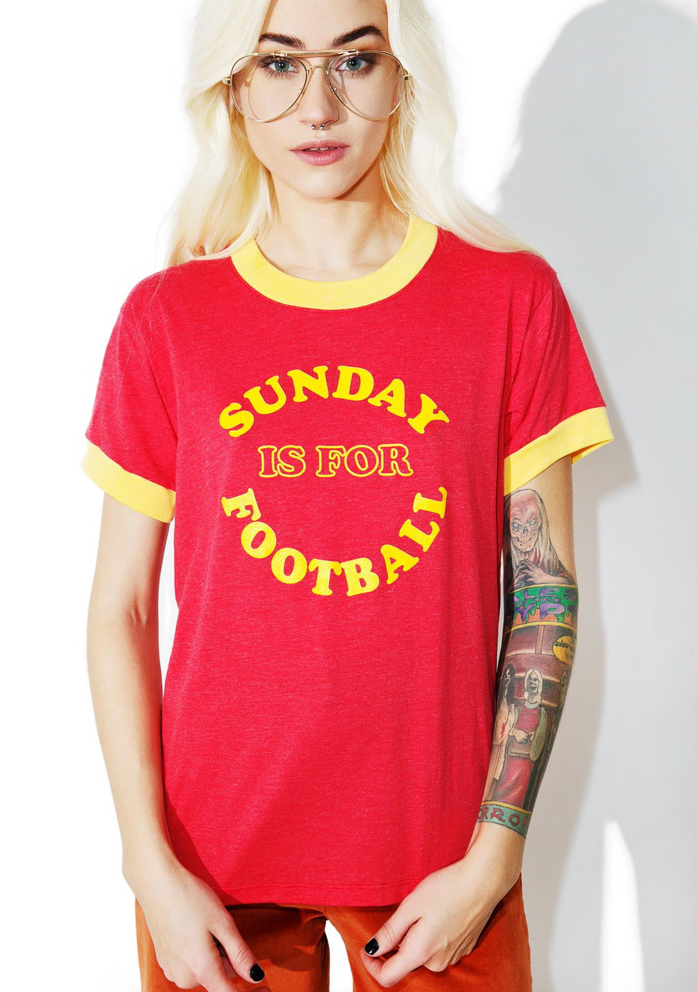 Camp Collection Sunday Is For Football Ringer Tee