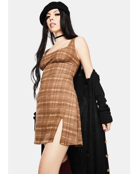 Brown Check Mehra Mini Dress