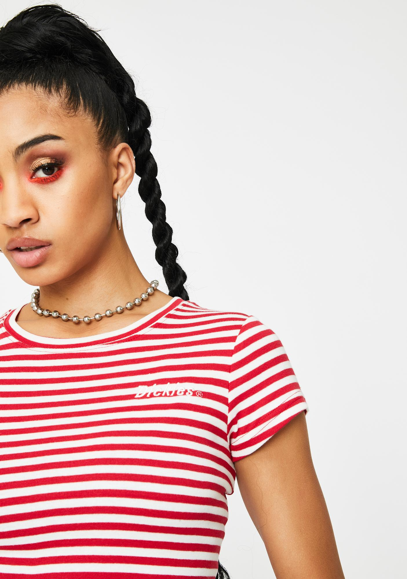 Dickies Girl Red Striped Baby Tee