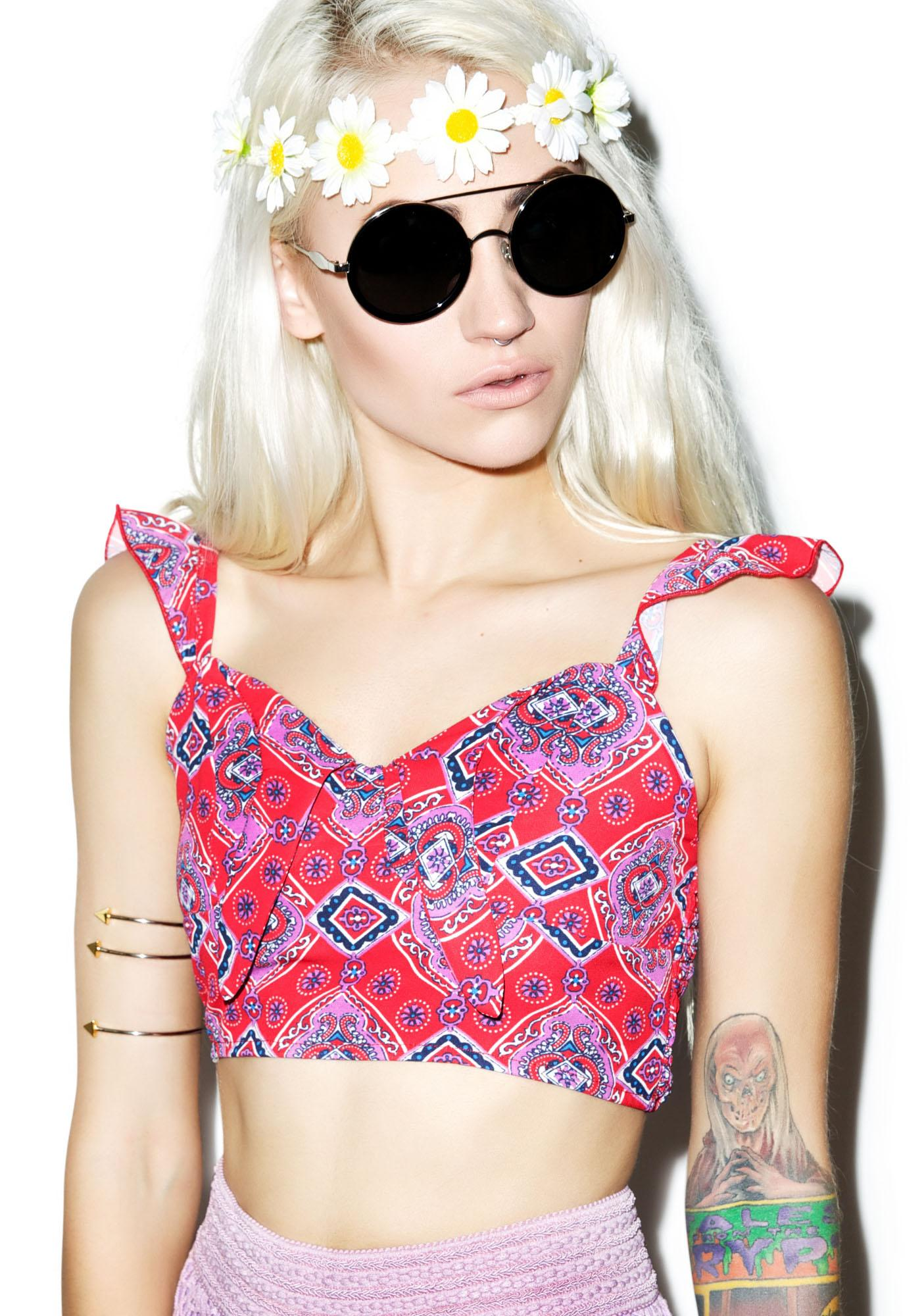 Rise of Dawn Poppy Crop Top