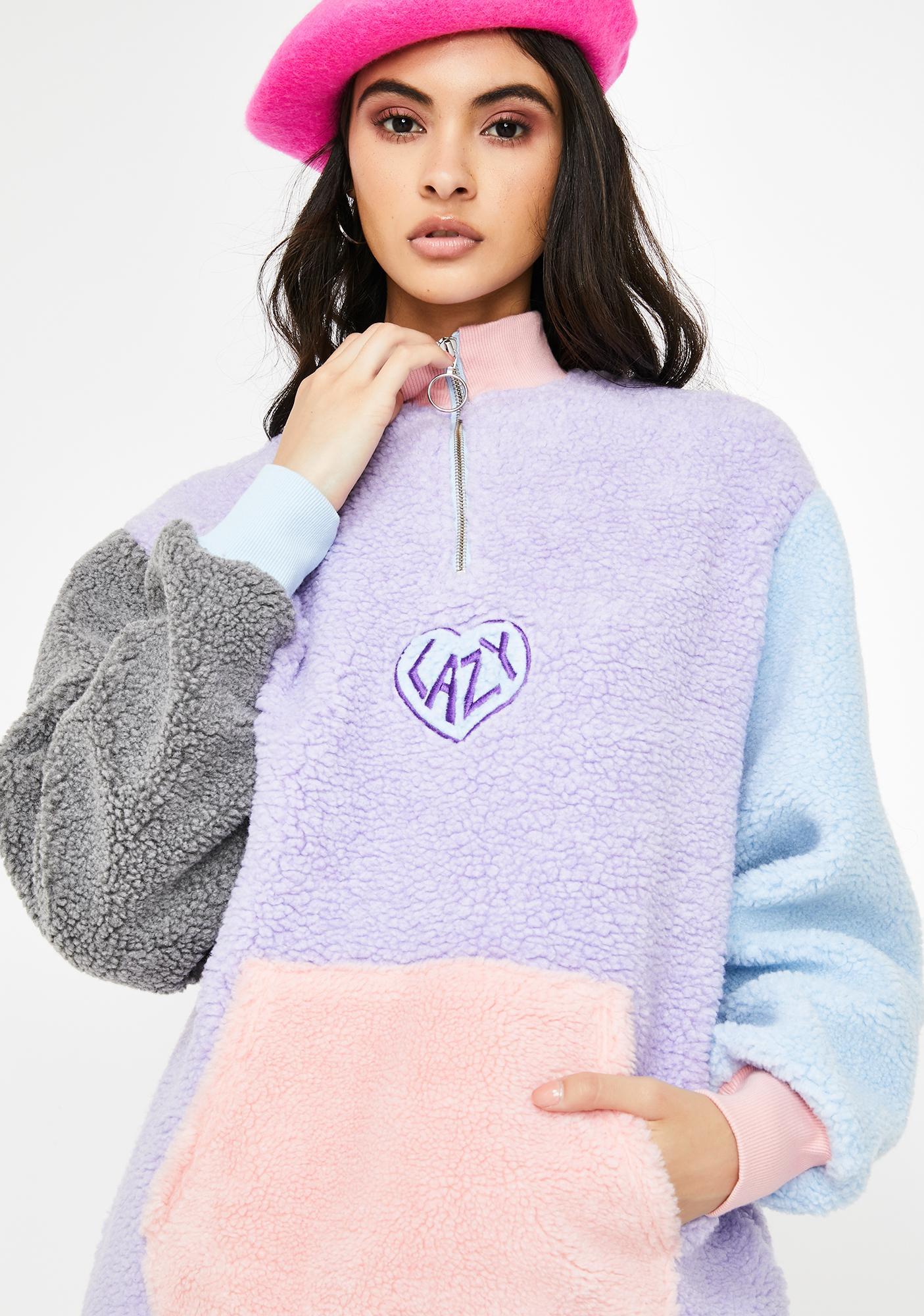 Lazy Oaf Pastel Panel Color Block Fleece Pullover