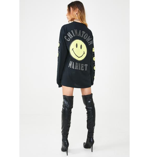 CHINATOWN MARKET Smiley Logo Long Sleeve T-Shirt