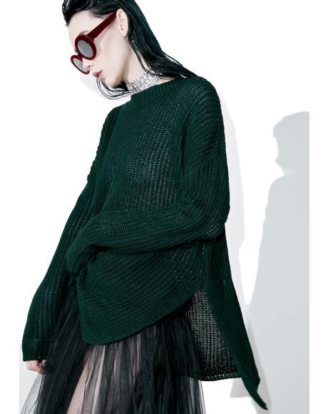 Collaboration High-Lo Split Sweater