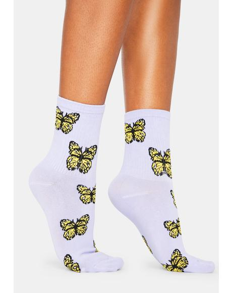 Wings Of Mine Butterfly Print Crew Socks