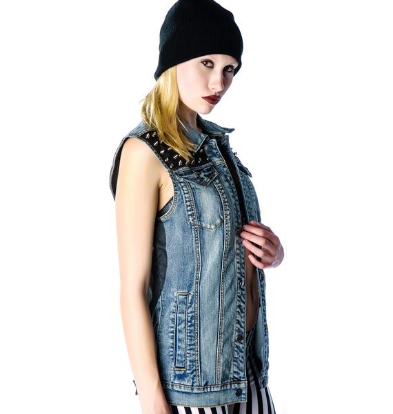 Lip Service Disturb the Peace Denim Vest