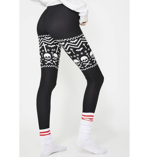 Too Fast Skull And Snowflakes Christmas Sweater Leggings