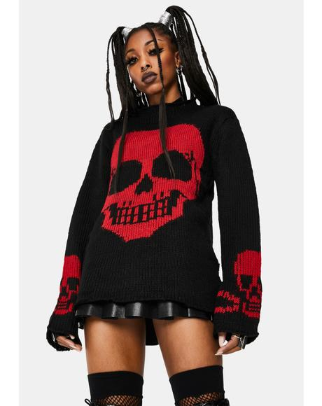 Red Knit Skull Sweater