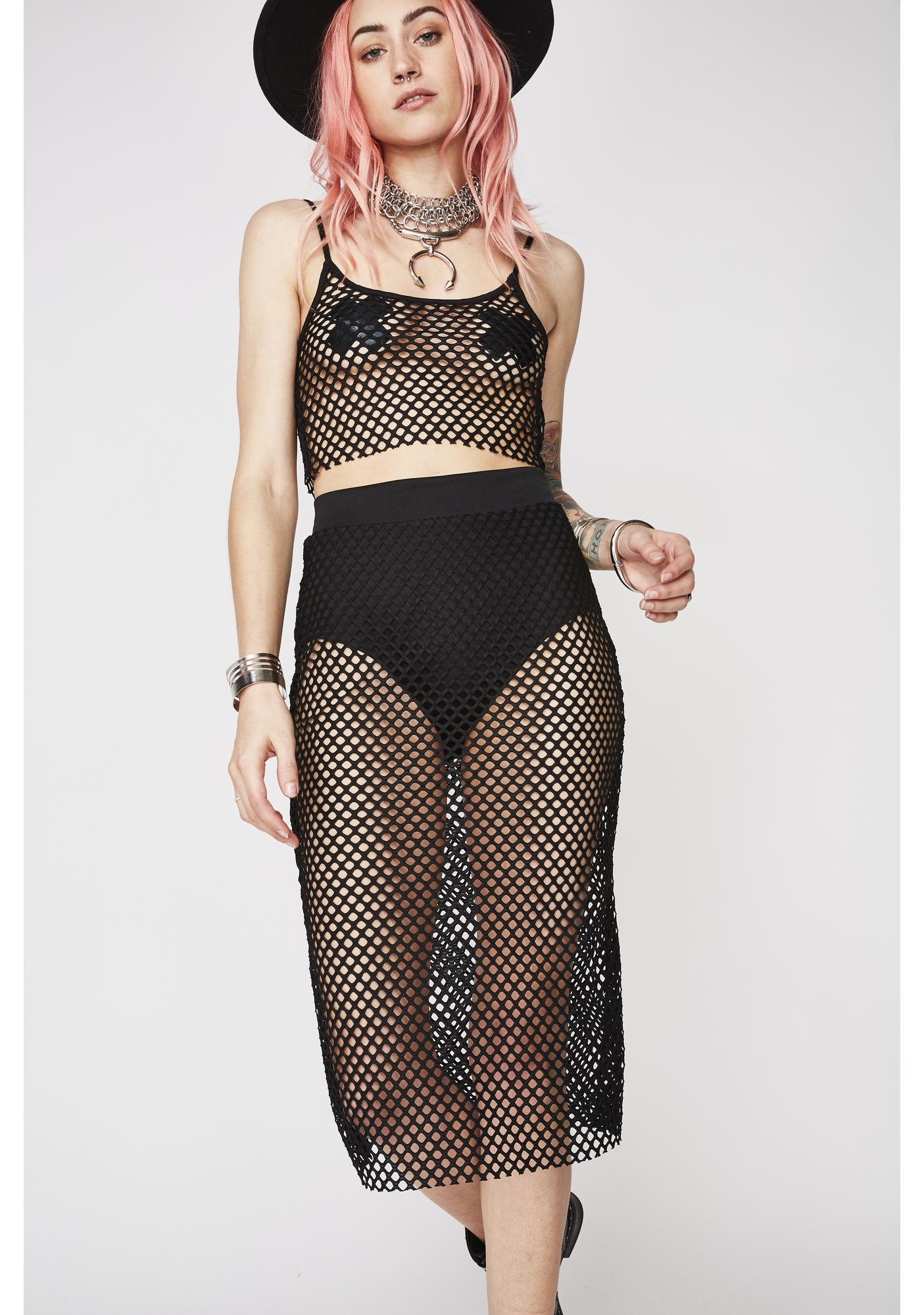 Hooked On You Fishnet Skirt