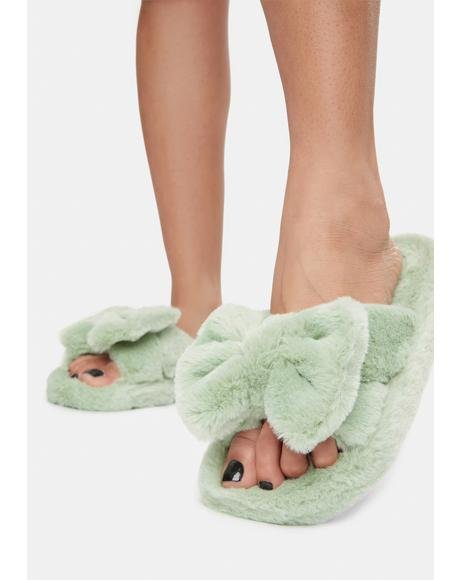 Mint Snuggle Up Fuzzy Slippers