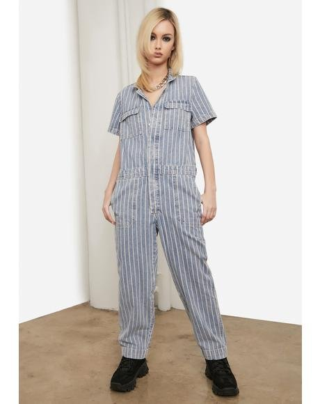 Mechanic Panic Pinstripe Denim Jumpsuit