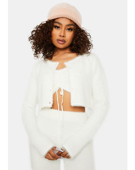 Bliss Banana Pancakes Fuzzy Cropped Cardigan