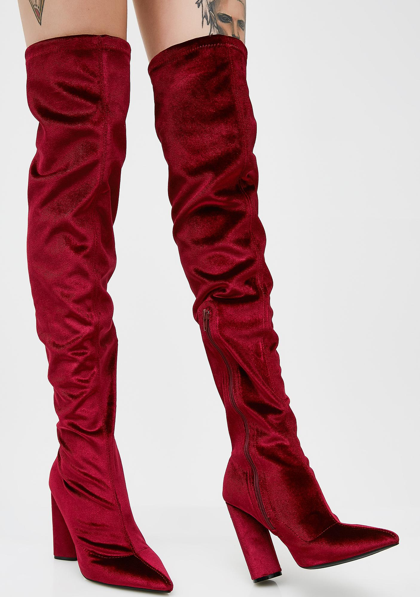 Wine Burnin' Romance Over The Knee Boots