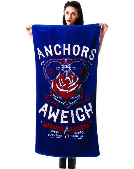 Anchors Aweigh Beach Towel