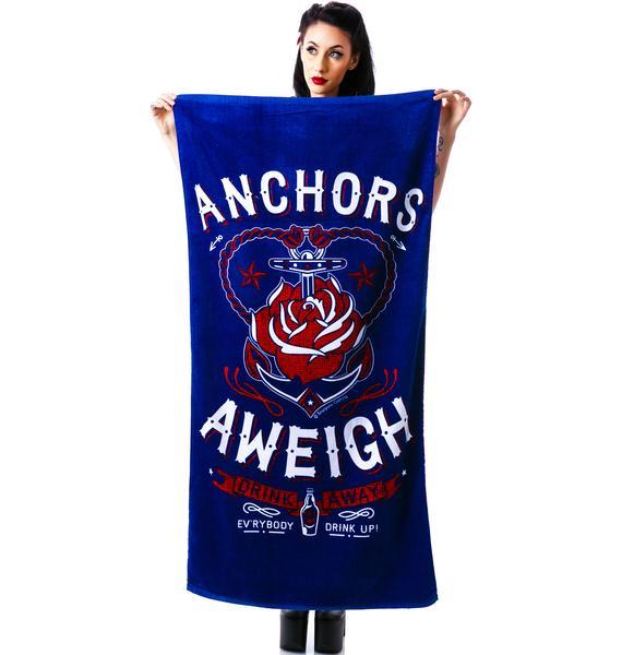 Sourpuss Clothing Anchors Aweigh Beach Towel