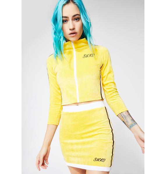 Sicko Cartel Pop Top Lemon Drop Velour Set