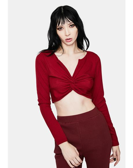 Burgundy My Dilemma Front Twist Top