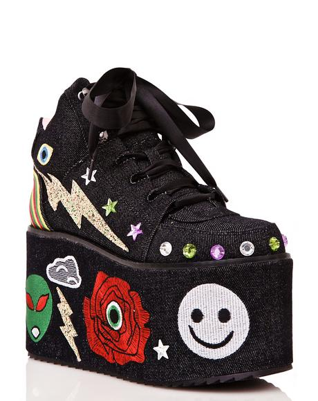 Qozmo Partii Patched Platform Sneakers
