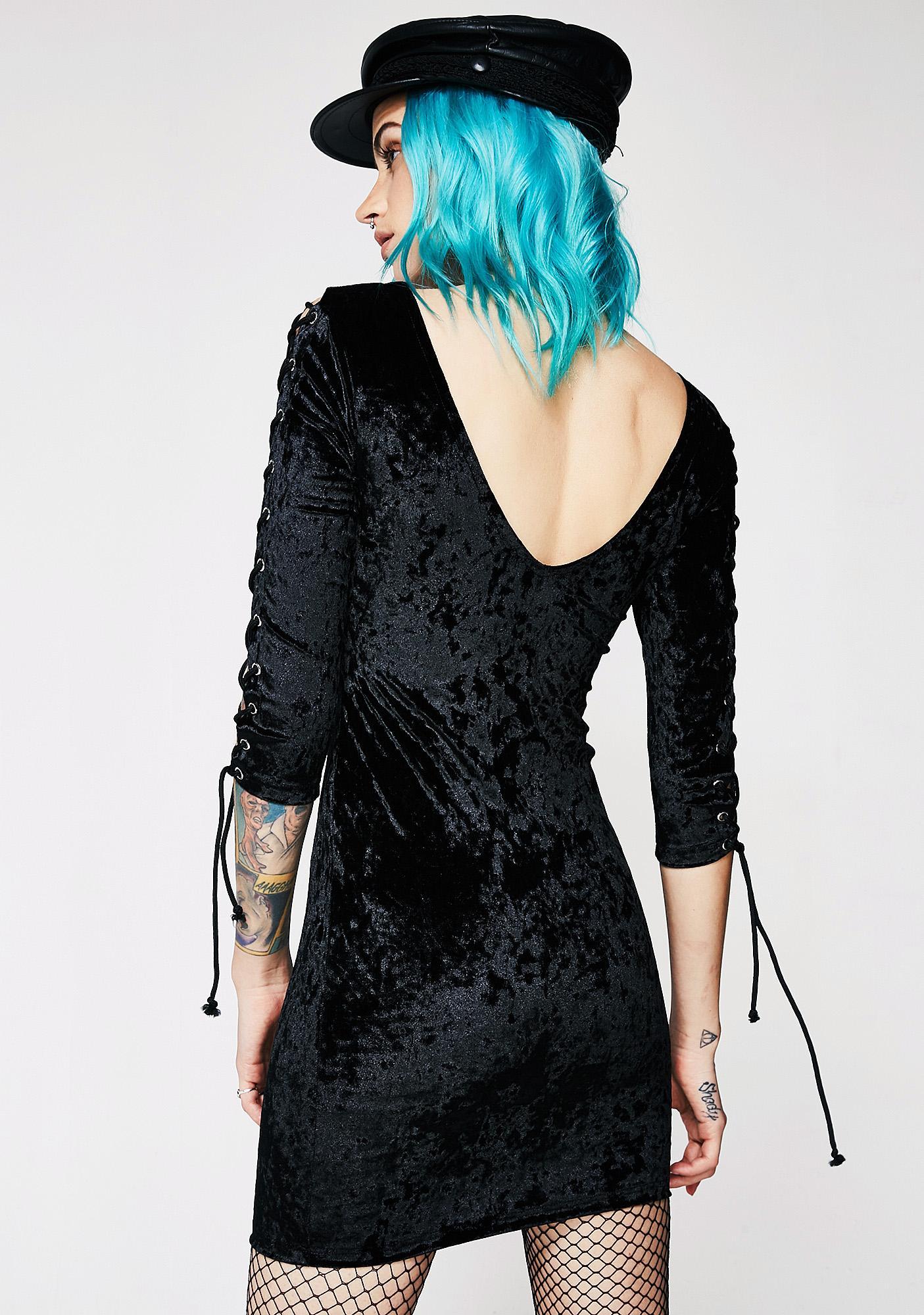 Current Mood Velvet Crushin' Lace-Up Dress