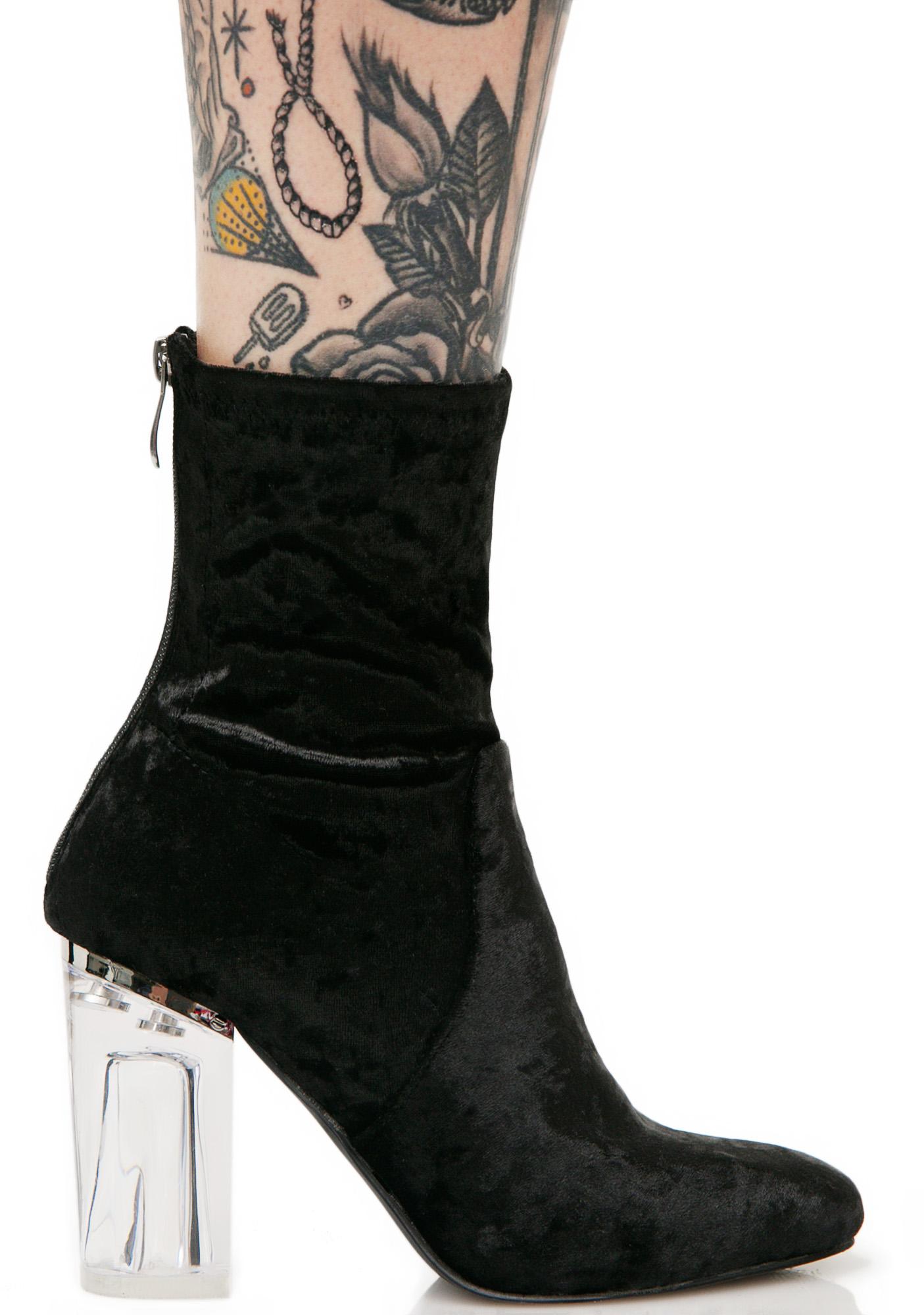 Clear Heel Black Velvet Boots