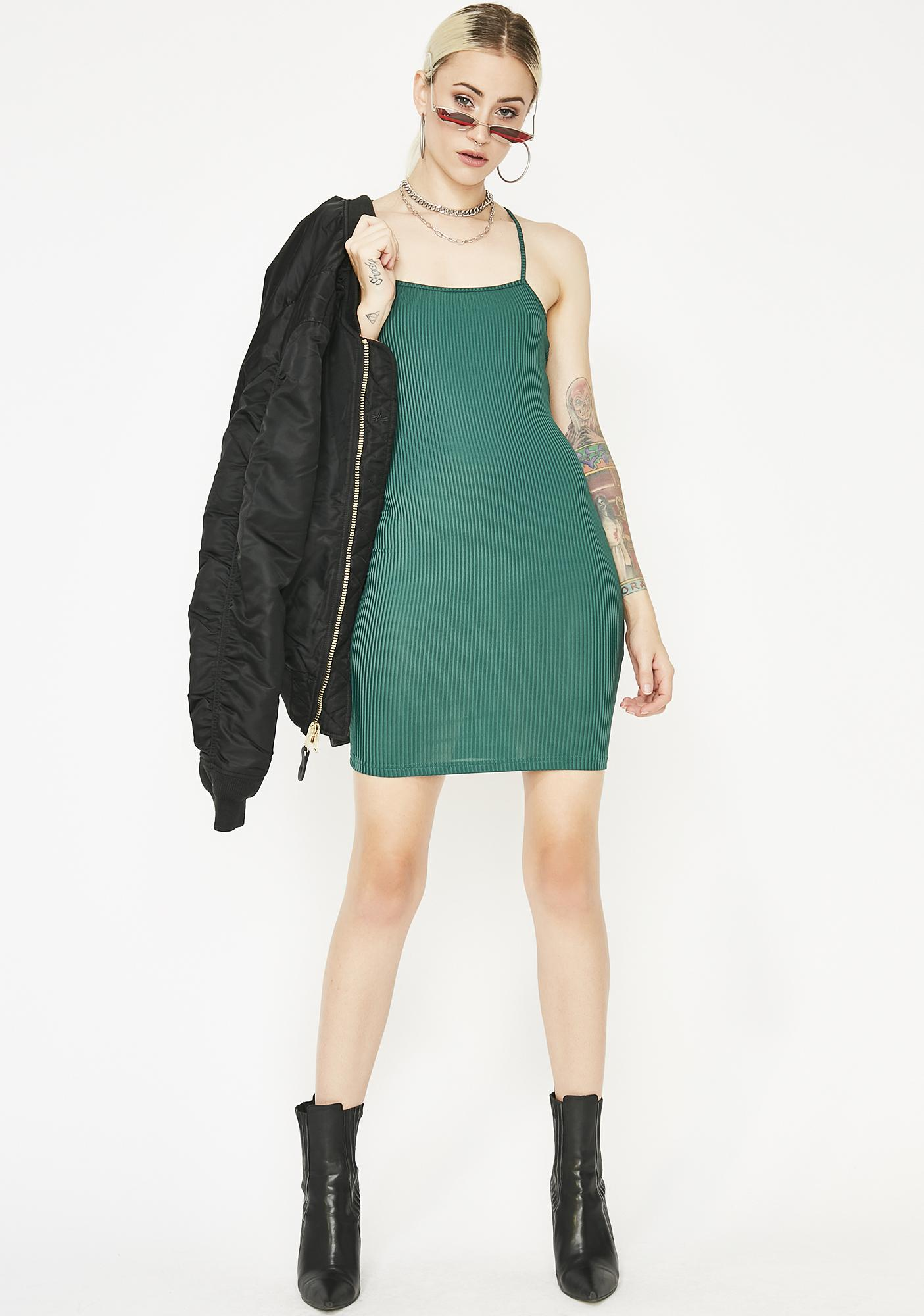 Going For A Spin Ribbed Dress