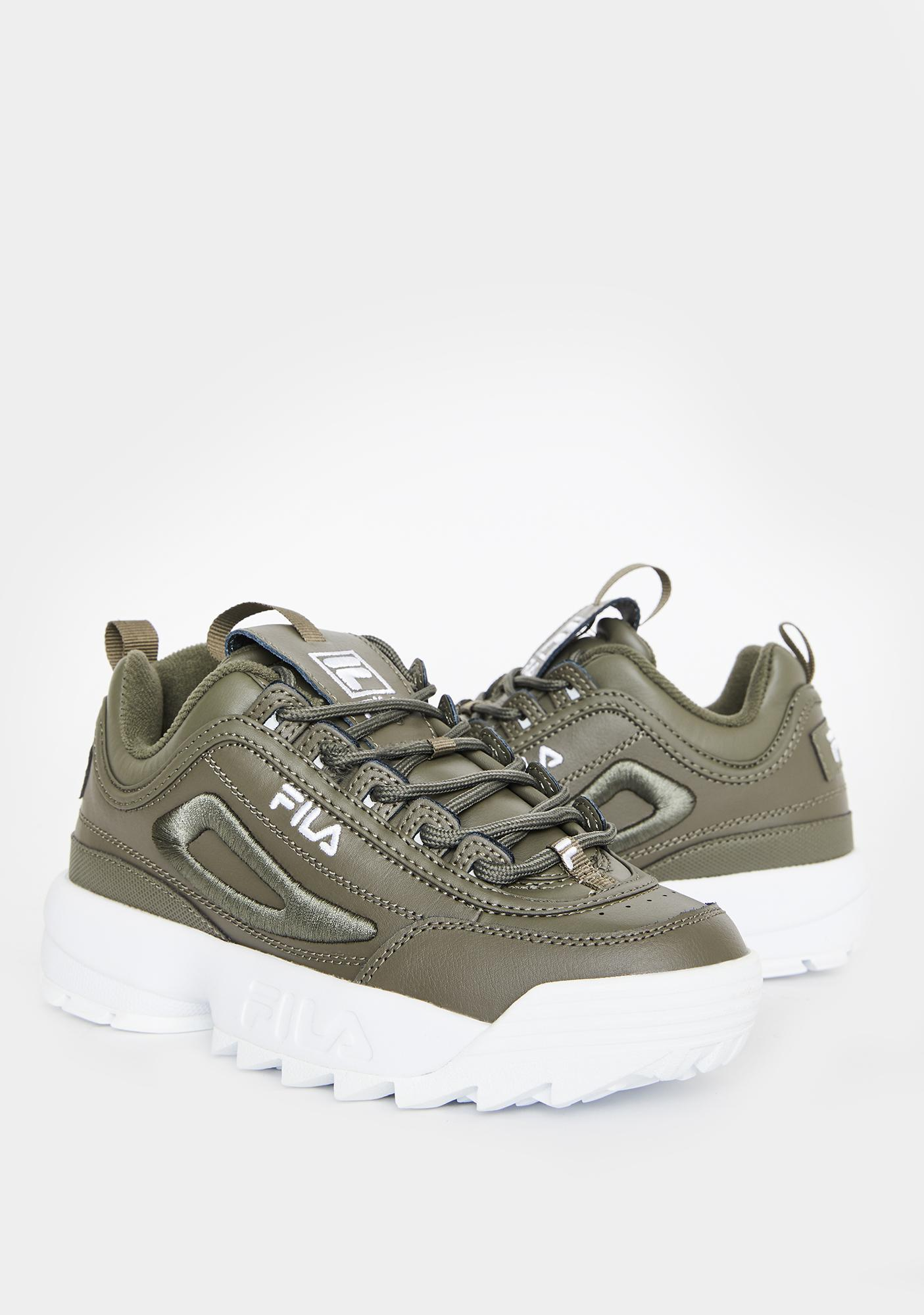 Fila Green Disruptor 2 3D Embroidered Sneakers