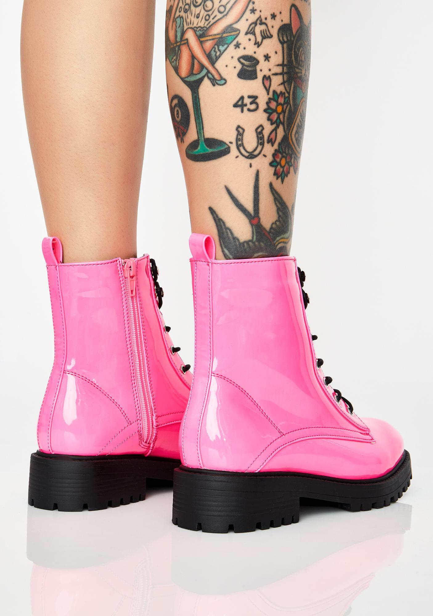 Bubblegum Buck Off Combat Boots
